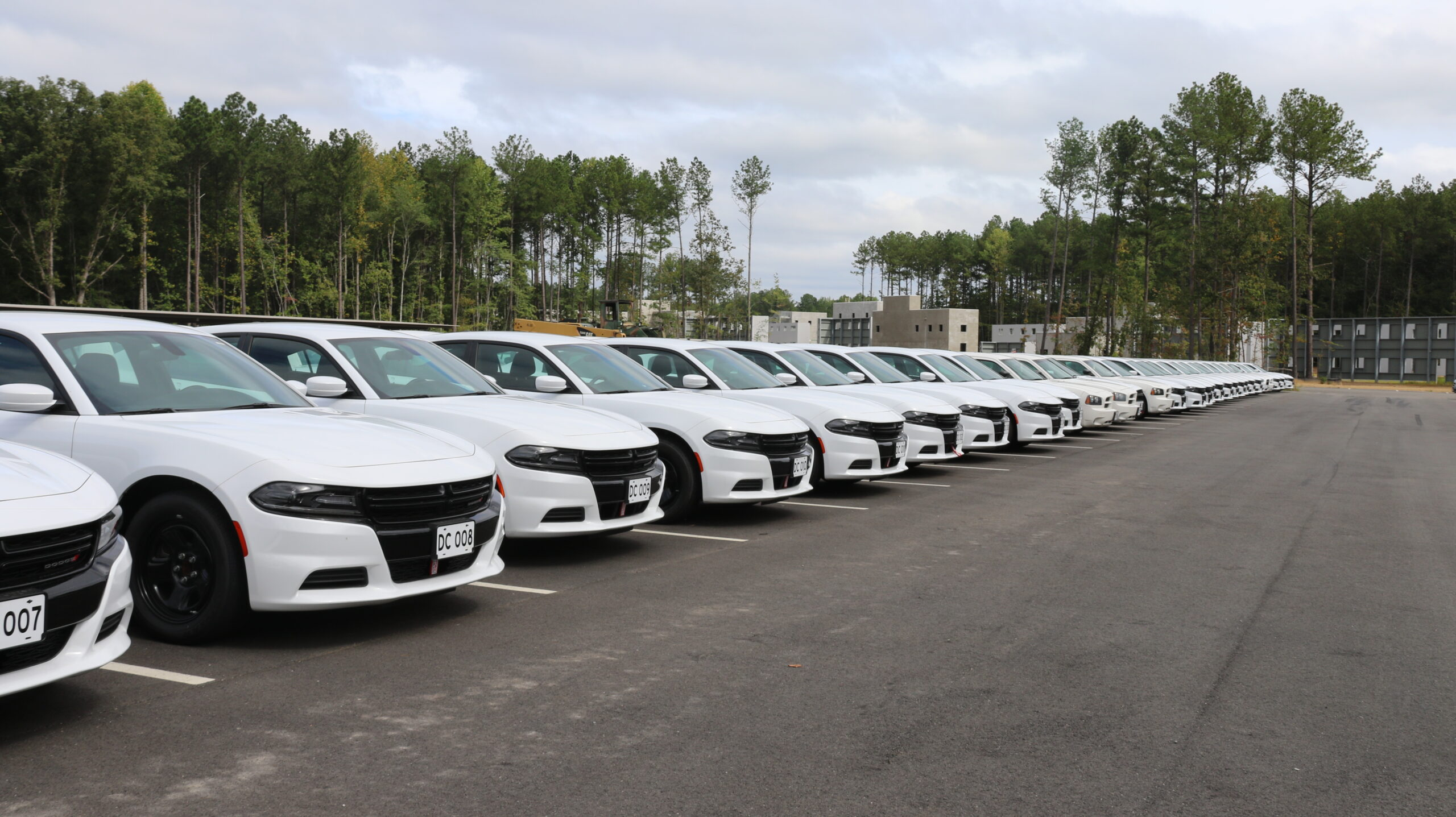 Dodge chargers lined up outside the vehicle maintenance facility at the Foreign Affairs Security Training Center, Sept. 6, 2019. (U.S. Department of State photo)